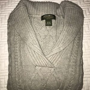 GENTLY USED EDDIE BAUER SWEATER, LARGE. GREY